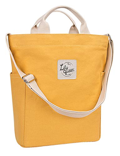 Lily Queen Women Canvas Tote Handbags Casual Hobo Satchel Shoulder Bag Crossbody (Yellow)