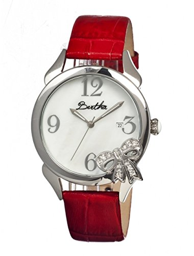 bertha-bow-ladies-watch-red-leather-band-silver-bezel-white-analog-dial-silver-hand