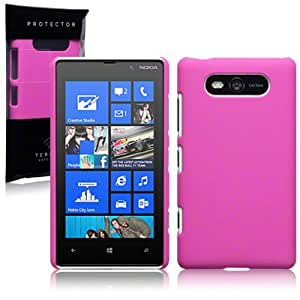 NOKIA LUMIA 820 HYBRID RUBBERISED BACK COVER CASE (SOLID HOT PNK)