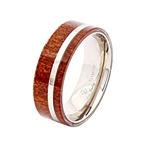 Lefeng Hawaii Koa Wood Inlay Titanium Wedding Bands 8mm Promise Engagement Rings, Size US9