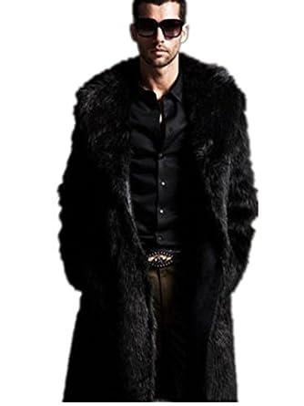 Amazon.com: YABEIQIN Men Faux Fur Coat Long Jacket