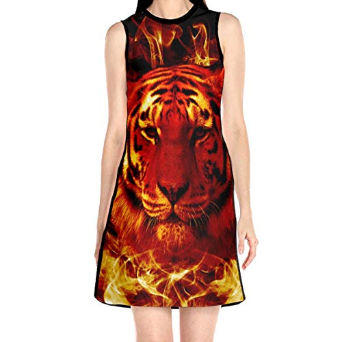 (Fire Flaming Tiger Face Sleeveless Dress A-line Mini Party Dress Sleeveless Tunic Top White)