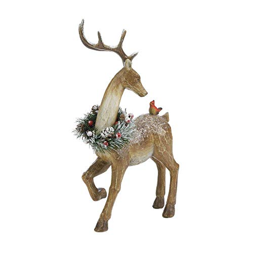 Decor and More Store Chriatmas Wreath Collectible Reindeer Bronzed Look Statue Figure Table Centerpiece Mantal Decor (Home Reindeer Decor)