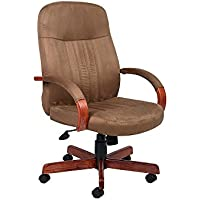 Shephard Tufted Microfiber Executive Chair Dimensions: 27W x 27D x 40.5-44H Seat Dimensions: 20Wx19Dx18-21.5H Weight: 42 lbs. Cappuccino Fabric/Dark Oak Finish