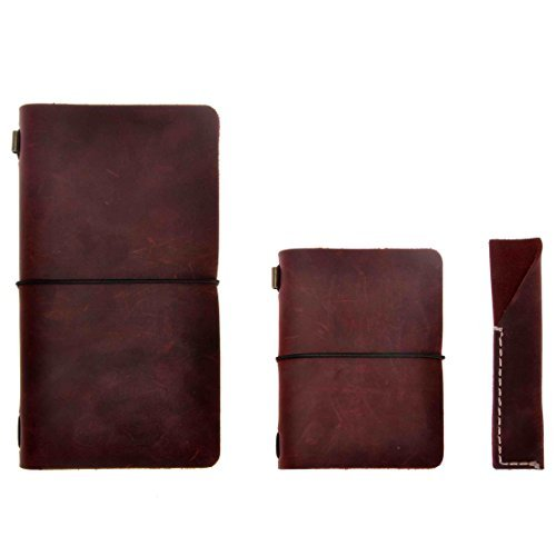 ZLYC Vintage Refillable Handmade Leather Journal Travelers Notebook Diary Notepad with Pen Holder, Set of Three, Dark Red