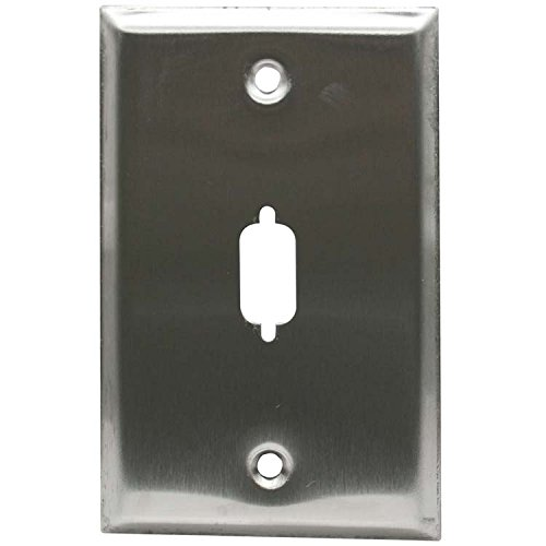 Wall Plate VGA or DB9 D-Sub 1 Port Stainless Steel 2-piece pack
