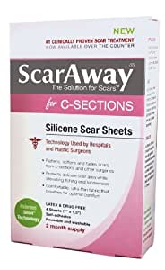 ScarAway C-Section Scar Treatment Strips, Silicone Adhesive Soft Fabric   4-Sheets (7 X 1.5 Inch)