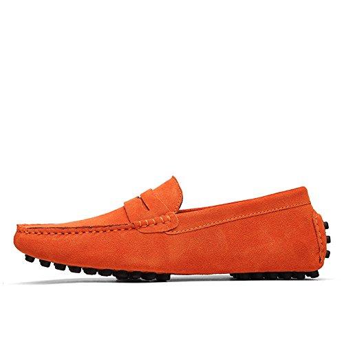 Abby 2088 Confort Des Hommes Mocassins Occasionnels Élégants Slip-on Travail Conduite Chaussures En Cuir Orange