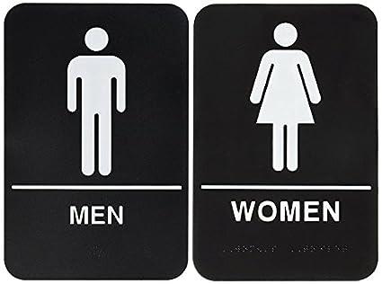 men bathroom sign. Bundle \u2013 2 Items: Men And Women Restroom Sign Black/White - ADA Bathroom M