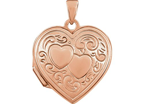 Rose Gold Plated Sterling Silver Two Heart Locket Pendant by The Men's Jewelry Store (for HER)