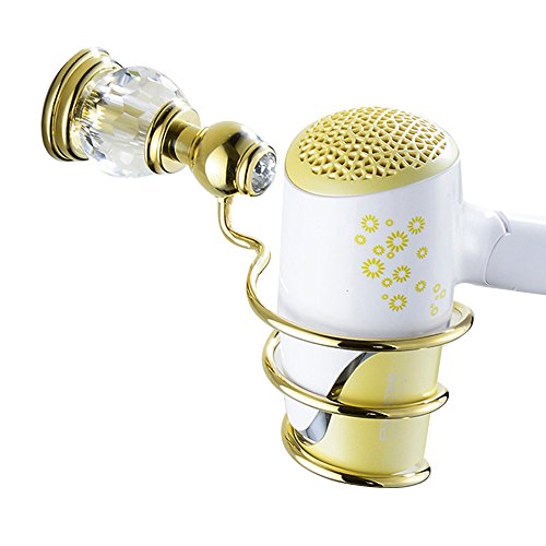 Leyden TM Bathroom Lavatory Luxury Gold Soild Brass Hair Dryer Holder Hairdryer Shelf Hairdryer Organizer Hairdryer Storage, Polished Gold by Leyden