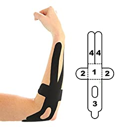 5 Pack - Kindmax Kinesiology Tape Elbow Support (Black) - K Tape for Elbow Injuries