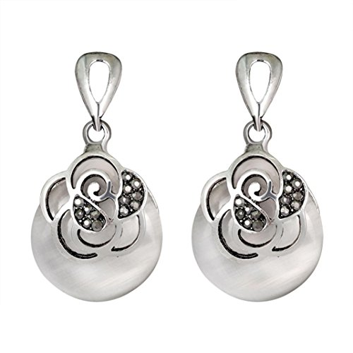(Yeefant 1 Pair Round Shape Diamond Encrusted Love Heart Jewelry Earrings for Woman,White)