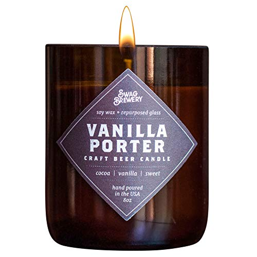 Vanilla Porter Brew Candle - Hand Poured in USA (Soy Wax) - Great Gift for Beer Lovers - for The Man Cave, Brewery, or Home (Made from Recycled Beer Bottles)