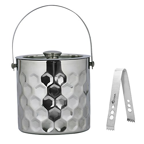 less Steel Ice Bucket with Double Wall and Ice Tongs, Size - 15 x 18cm, Hammered Finish | Ice Cube Bucket (Hammered Stainless Ice)
