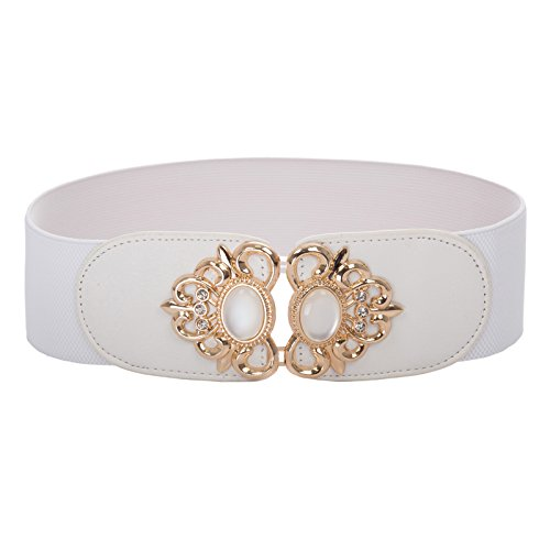 Women's Vintage Wide Stretch Elastic Waist Belts Waistband White Size S BP753-2 (Cinch Wide Patent Leather)