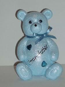 Abuelo lindo bebé azul oso de peluche al aire libre cementerio tumba monumento adorno