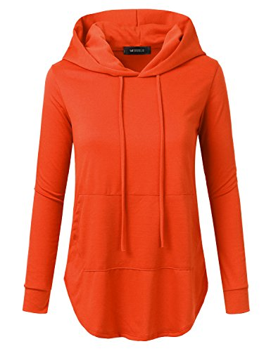 Doublju Loose Fit Pullover Hoodie With Kangaroo Pocket (Made In USA / Plus size available) ORANGE SMALL