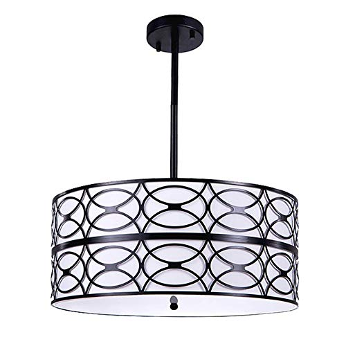 "Wellmet Modern Drum Black Chandelier Room Lights for Bedroom, 6-Lights Foyer Pendant Light Fixture Ceiling with Arcylic Diffuser for Living Room, H52"" x D19"""