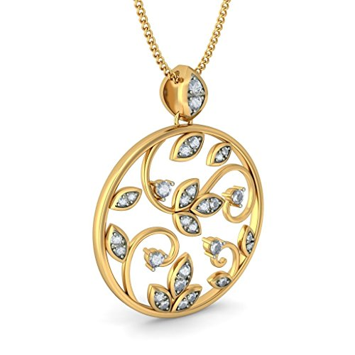 Or jaune 18 K 0.39 carat au total Round-cut-diamond (IJ | SI) Pendentif