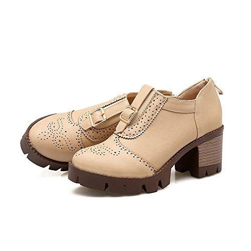 AllhqFashion Damen Weiches Material Rund Zehe Mittler Absatz Reißverschluss Pumps Schuhe Cremefarben