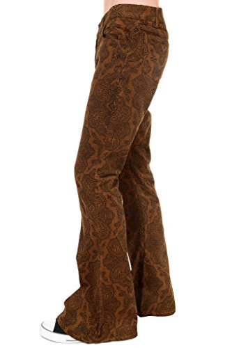 Run & Fly Mens 60s 70s Vintage Tan Paisley Corduroy Retro Bell Bottom Flares 34 Short