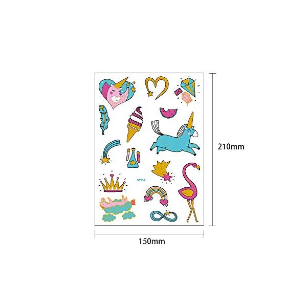 Children's Toys Creative Stickers Tattoos Bronzing Cartoon Children's Tattoo Designs of Antelope Unicorn Temporary Tattoo Stickers for Kid's Finger Face Tattoo 7