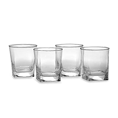 Home Essentials Red Series 10 Oz. Square-to-round Dual-cut Cut Drinking Glasses, Set of 4