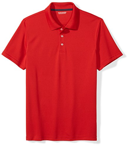 Amazon Essentials Men's Standard Slim-Fit Quick-Dry Golf Polo Shirt, Red, Large ()