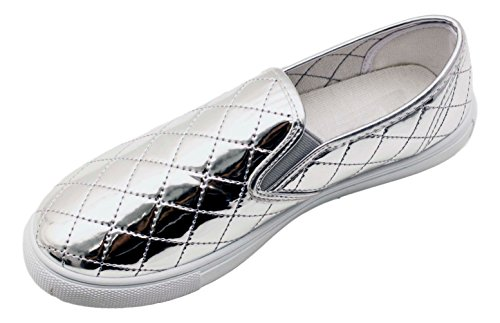 Quilted Flats Metallic (Hot Metallic Silver Quilted Casual Sneakers Back to School Uniform Round Toe Slip On Comfortable Cute Athletic Sport Flat Laceless Tenis Shoe for Teen Girl Ladies (Size 7, Silver)