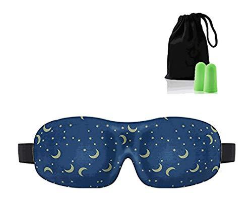 3D Eye Mask Star Moon Deep Molded Sleep Mask, with Ear Plug
