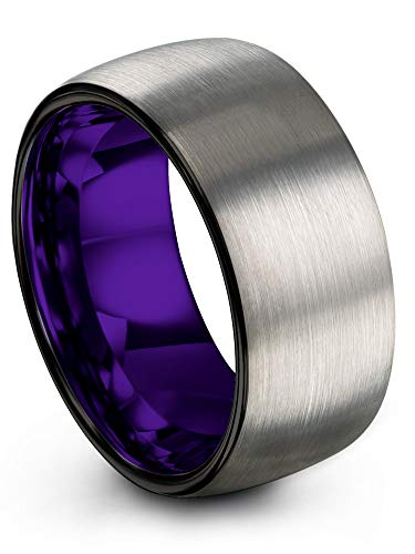 Chroma Color Collection Tungsten Carbide Wedding Band Ring 10mm for Men Women Purple Interior with Black Grey Exterior Dome Brushed Polished Comfort Fit Anniversary Size 14