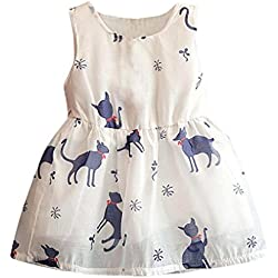 Leegor Baby Girls Princess Party Dresses Cat Print Sleeveless Tulle Tutu Vest (6/7T, Blue)