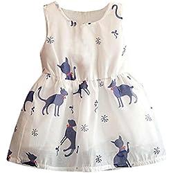 Leegor Baby Girls Princess Party Dresses Cat Print Sleeveless Tulle Tutu Vest (6/7T, Blue)