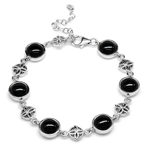 Created Black Onyx White Gold Plated 925 Sterling Silver Flower Celtic Knot 7-8.5 Inch Adj. Bracelet ()