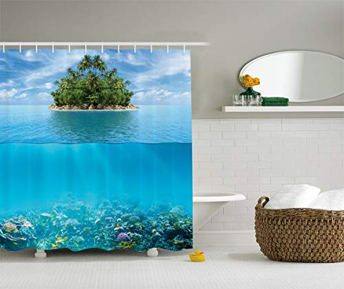 Ambesonne Tropical Shower Curtain, Lonely Small Island on The Ocean with a Lush Jungle Exotic Flora and Fauna, Cloth Fabric Bathroom Decor Set with Hooks, 70