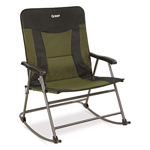 Guide Gear Oversized XXL Rocking Camp Chair, 600-lb. Capacity, Green Black