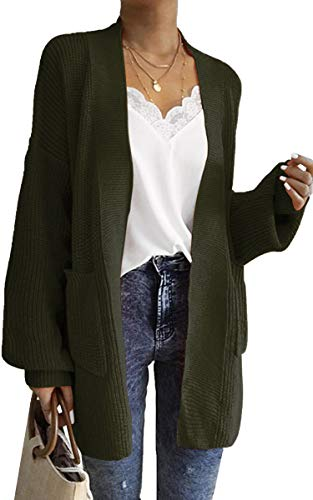 Womens long cardigan sweater with pockets