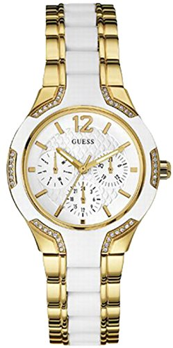 Guess Women's CENTER STAGE Multicolor Gold Tone Steel Bracelet & Case Quartz White Dial Watch W0556L2
