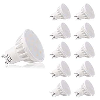 LOHAS® No-Regulable 6Watt GU10 LED Bombillas, Equivalente a 50Watt Lámpara Incandescente, Blanca Neutra 4000K, 500lm, 120 ° ángulo de haz, Ultra Brillante LED Bombillas, Paquete de 10 Unidades