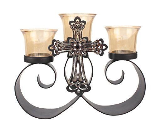 Cheap  Briarwood Vintage Jeweled Cross Metal Candelabra with 3 Glass Votive Candle Holders,..
