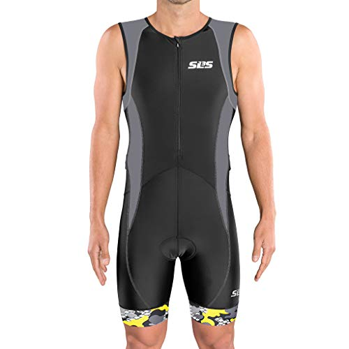 SLS3 Tri Suit Men FX | Mens Triathlon Suit | 2 Pocket Trisuit Men | Soft Custom Chamois | German Designed (Black/Gray, L)