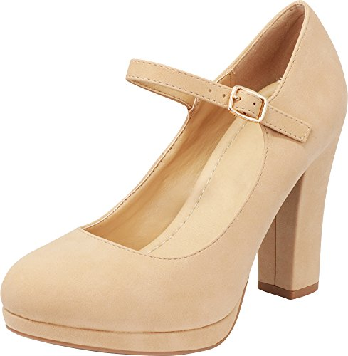 Buckled Platform Pumps - Cambridge Select Women's Closed Round Toe Buckled Mary Jane Padded Comfort Platform Chunky Heel Pump,10 B(M) US,Natural NBPU
