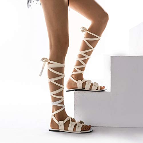 Romaine Bottines Ete Pas Sandales Femme Sexy Femme Boucle Blanc Chaussures Plates sandales Chaussure Spartiate Waselia Cher Sangle wqApn