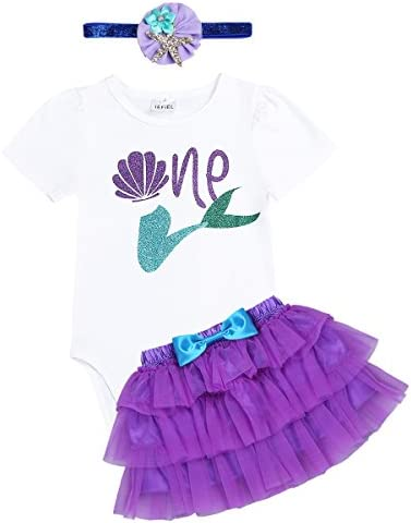 195aee5e02d5 iiniim Baby Girls First Birthday Outfit Romper With Tutu Skirt Headband Set Little  Mermaid Costumes