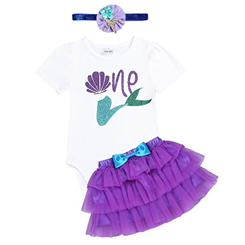 (iiniim Baby Girls 1st Birthday Outfit Romper Bodysuit with Tutu Skirt Headband Set Mermaid Princess Party Costumes Purple 9-12)