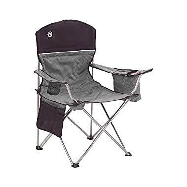 Coleman Oversized Quad Black Chair with Cooler and Cup Holder, 2-Pack