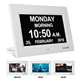 Digital Clock Large Display for Seniors - Impaired Vision Digital Clock with USB Charger Port, SD Card Support Play Picture, Video, Perfect Elderly Dementia Products, its Best Gifts for Elderly