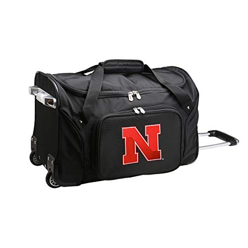 NCAA Nebraska Cornhuskers Wheeled Duffle Bag, 22 x 12 x 5.5, Black