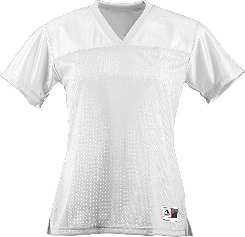 Augusta Sportswear Women's Junior fit Replica Football tee, White, Large